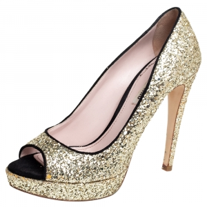 Miu Miu Gold/Black Glitter And Suede Peep Toe Platform Pumps Size 38