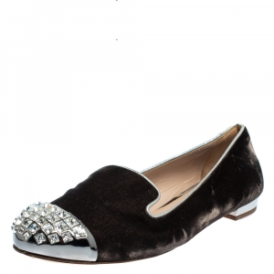 Miu Miu Brown Velvet Embellished Smoking Slippers Size 38.5