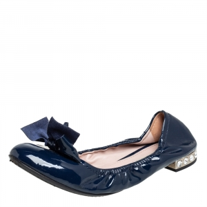Miu Miu Navy Blue Patent Leather Bow Detail Crystal Embellished Heel Scrunch Ballet Flats Size 40