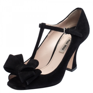 Miu Miu Black Suede Bow T-Strap Sandals Size 36 - used
