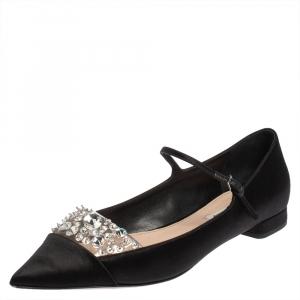 Miu Miu Black Satin Crystal Embellished Ankle Strap Pointed Toe Ballet Flats Size 40