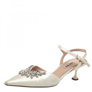 Miu Miu White Satin Crystal Embellished Sandals Size 40