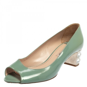 Miu Miu Teal Green Patent Leather Embellished Heel Peep Toe Pumps Size 37