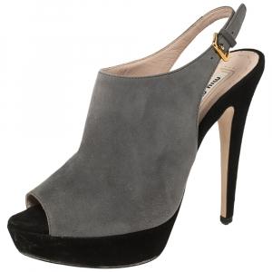 Miu Miu Grey/Black Suede Platform Peep Toe Slingback Sandals Size 36.5 - used