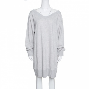 MM6 Maison Margiela Grey Melange Terry Cold Shoulder Oversized Sweatshirt Dress S