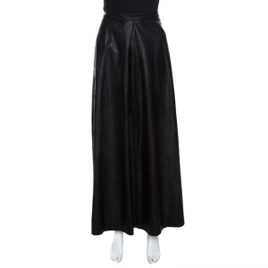 MM6 Maison Margiela Black Faux Leather A Line Maxi Skirt M