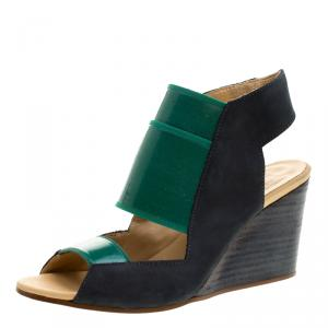 MM6 Maison Margiela Blue/Green Leather and Coated Elastic Fabric Wedge Sandals Size 36