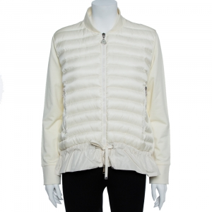 Moncler Cream White Nylon Maglia Puffer Jacket L -