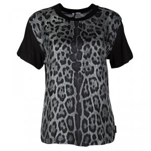 Moncler Black Contrast Animal Print Silk Panel T-Shirt XS