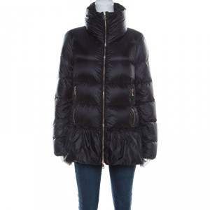Moncler Black Ruffled Hem Anet Puffer Down Jacket L