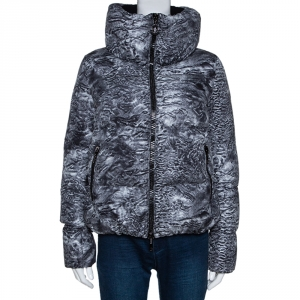 Moncler Grey Astrakhan Print Down Quilted Ratel Jacket S
