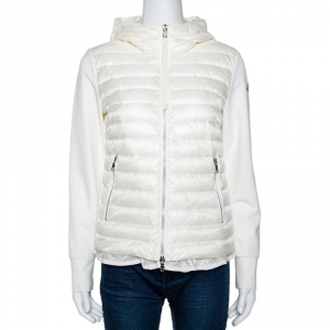 Moncler Off White Down Quilted Ruffled Hem Hooded Jacket M