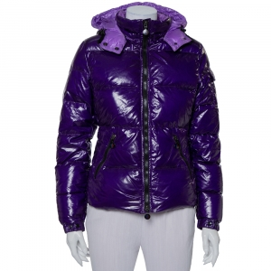 Moncler Purple Synthetic Quilted Hooded Down Jacket S - used