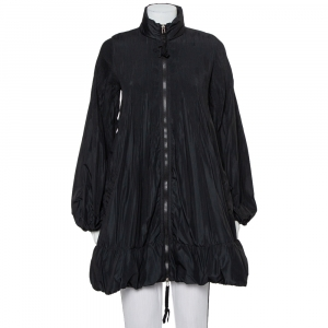 Moncler Black Synthetic Micro Pleated Detail Sizuka Coat M - used