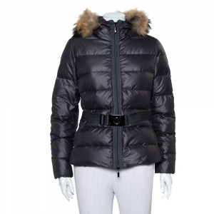 Moncler Grey Synthetic Fur Lined Belted Hooded Puffer Jacket M - used