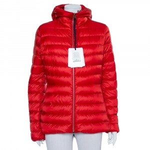 Moncler Red Synthetic Quilted Hooded Jacket XL - used