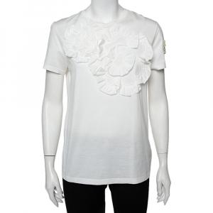Moncler Genius White Cotton Applique Detail Simone Rocha T-Shirt S - used