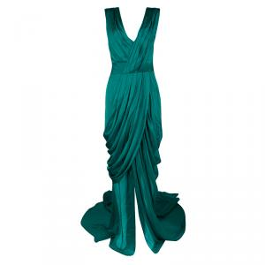 Monique Lhuillier FW'15 Emerald Silk Satin Draped Gown XL