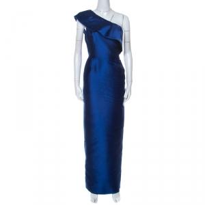 Monique Lhuillier Blue Silk Blend One Shoulder Mikado Gown S