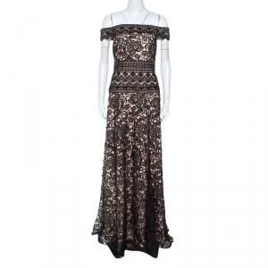 Monique Lhuillier Black Lace Off Shoulder Gown M
