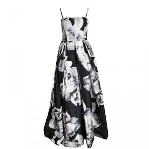 Monique Lhuillier Black Floral Printed Pleated Sleeveless Gown M