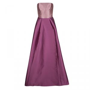 Monique Lhuillier Colorblock  Strapless Silk Gown S