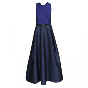 ML Monique Lhuillier Blue Cross Back Detail Embellished Gown M