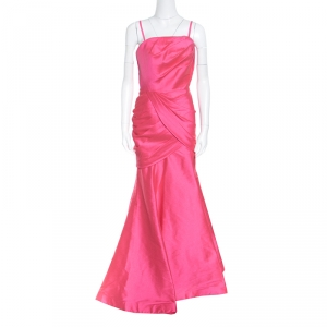 ML by Monique Lhuillier Pink Draped Strapless Faille Gown L used