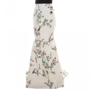 Monique Lhuillier Collection Off White Pebbled Jacquard Bird Print Maxi Skirt M