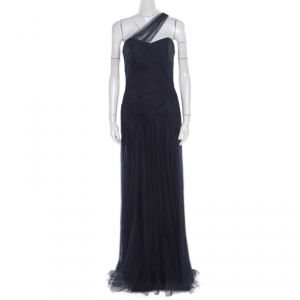 Monique Lhuillier Bridesmaids Navy Blue Draped Tulle One Shoulder Gown M