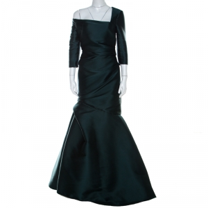 Monique Lhuillier Emerald Green Silk Satin Asymmetric Sleeve Evening Gown M