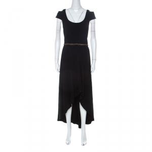 ML by Monique Lhuillier Black Stretch Crepe Cold Shoulder Cocktail Dress L - used