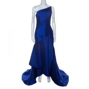 ML Monique Lhuillier Blue Beaded Detail Faille Trumpet Gown L - used