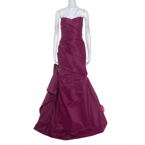 Monique Lhuillier Garnet Purple Silk Tufted Skirt Strapless Gown XL used