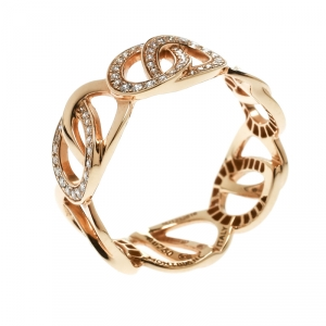 Montblanc Princesse Grace de Monaco Petal Intertwined Diamond 18k Rose Gold Band Ring Size 52
