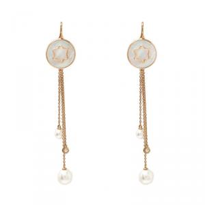 Montblanc Mother of Pearl Diamond 18k Rose Gold Drop Tassel Earrings