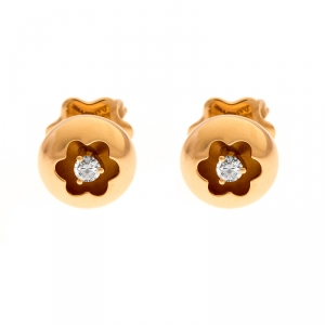Montblanc Logo Diamond 18k Rose Gold Round Stud Earrings