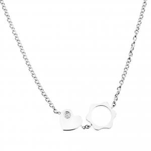 Montblanc Diamond 18k White Gold Heart Star Charm Necklace