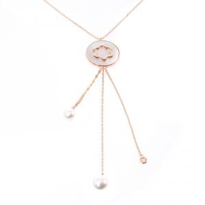 Montblanc Signet Mother of Pearl Diamond 18k Rose Gold Tassel Pendant Necklace
