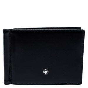Montblanc Black Leather Meisterstück Money Clip Wallet 6CC