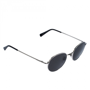 Montblanc Silver Tone /Smoke Grey MB-550S Round Sunglasses