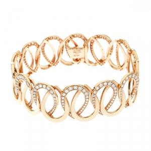 Montblanc Princesse Grace de Monaco Petal Intertwined Diamond 18k Rose Gold Bracelet