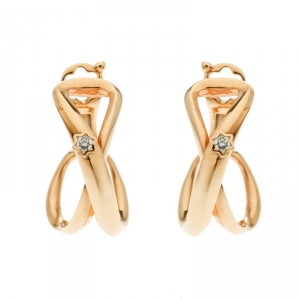 Montblanc Infiniment Vôtre Diamond 18k Rose Gold Hoop Earrings