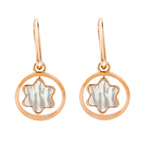 Montblanc Rotating Emblem Mother of Pearl 18k Rose Gold Earrings