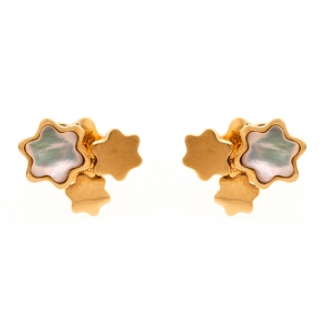 Montblanc Mother of Pearl 18k Rose Gold Stud Earrings