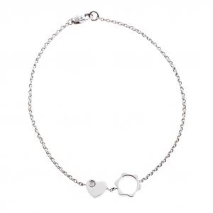Montblanc Diamond 18k White Gold Heart Star Charm Bracelet