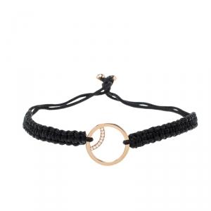 Montblanc Boheme Diamond 18k Rose Gold Black Cord Adjustable Bracelet