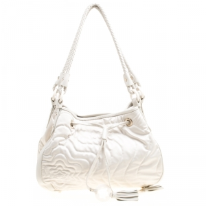 Montblanc White Nylon and Leather Starisma Dalila Drawstring Hobo