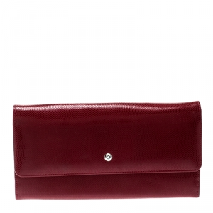 Montblanc Red Soft Grain Leather 10CC Long Wallet