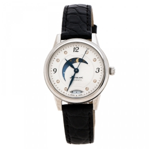 Montblanc White Stainless Steel Leather Boheme Day & Night 114730 Women's Wristwatch 30 mm